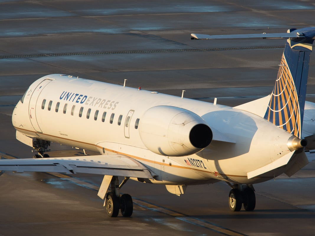 A United Express Embraer E145 awaits taxi clearance at George Bush Intercontinental Airport in Houston on Jan. 27, 2019.