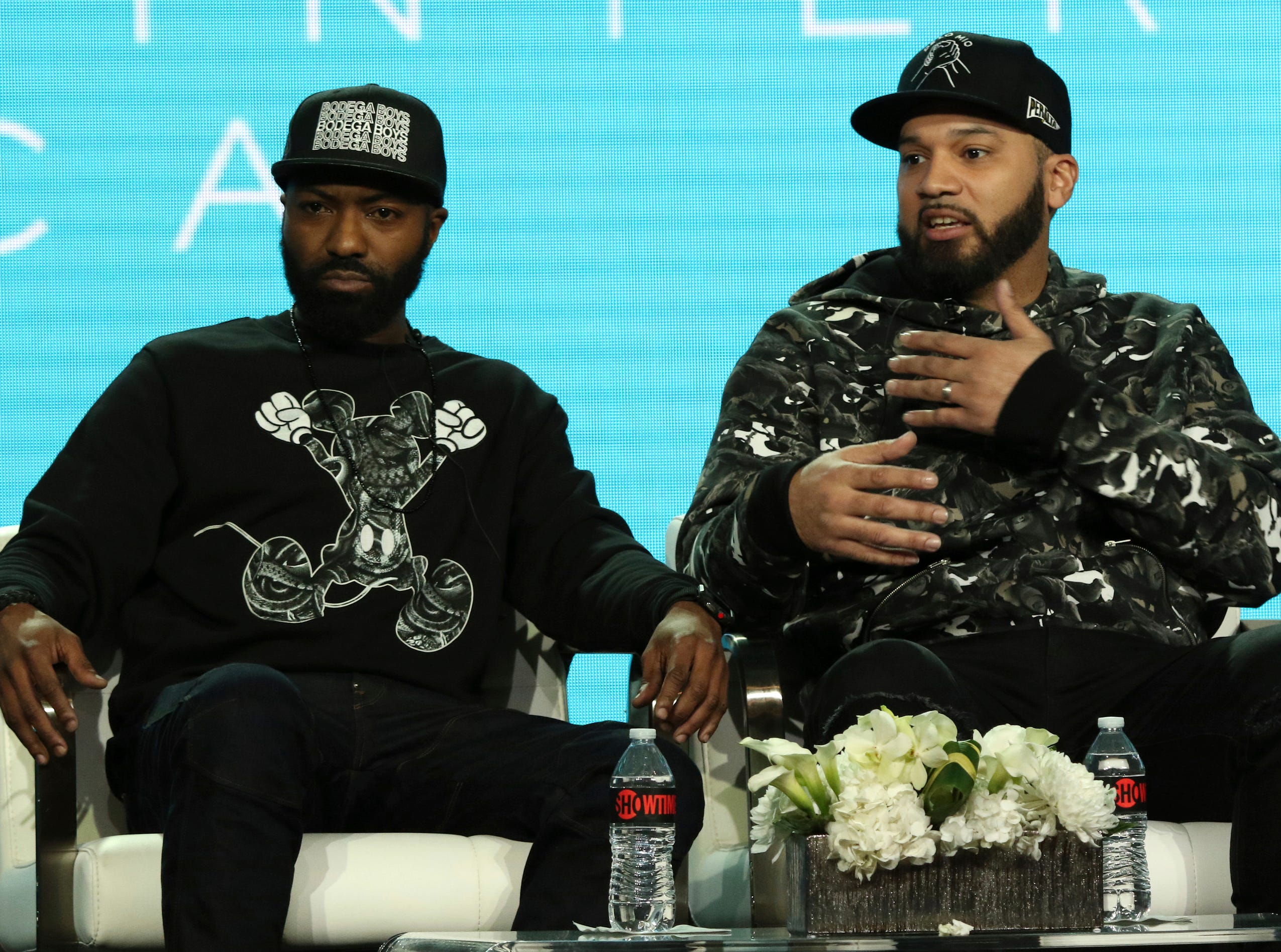 """Executive producer/writers Desus Nice and The Kid Mero participate in the """"Desus & Mero,"""" which is moving to Showtime this year."""