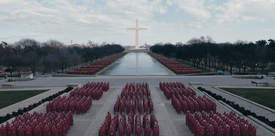 """A scene from """"The Handmaid's Tale"""" from Season 3, starring Elisabeth Moss."""