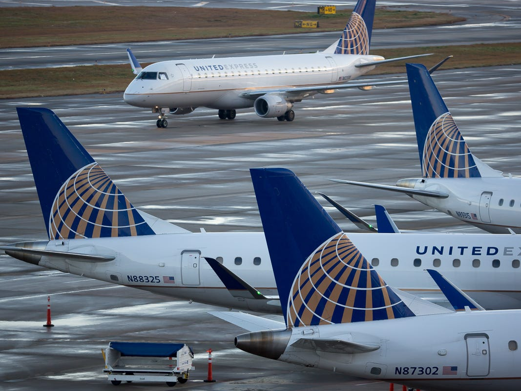 United Airlines planes fill the gates of Terminal B at George Bush Intercontinental Airport in Houston on Jan. 27, 2019.