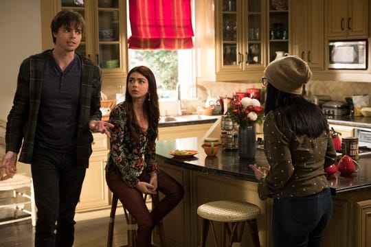 "Reid Ewing is pictured with Sarah Hyland on ""Modern Family."""