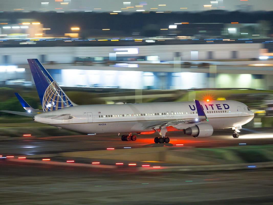 A United Airlines Boeing 767-300 taxis out for departure from George Bush Intercontinental Airport in Houston on Jan. 27, 2019.