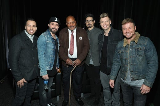 Howie Dorough, AJ McLean, Jim Brown, Kevin Richardson, Nick Carter and Brian Littrell attend SiriusXM at Super Bowl LIII Radio Row on February 01, 2019 in Atlanta, Georgia.