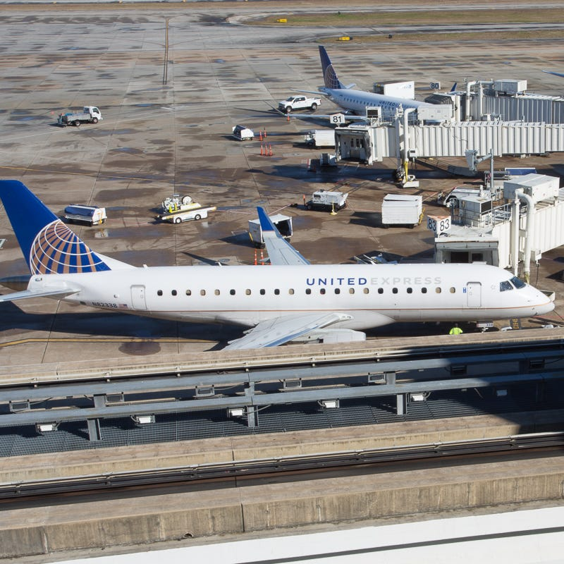 United Airlines jets are readied for their next flight at George Bush Intercontinental Airport in Houston on Jan. 27, 2019.