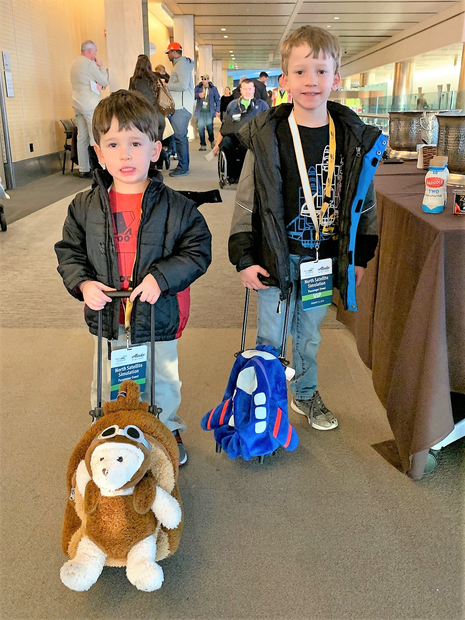 Ari and Micah Weinstein brought suitcases to help test the expanded North Satellite Terminal at Seattle-Tacoma International Airport on Jan. 12, 2019.