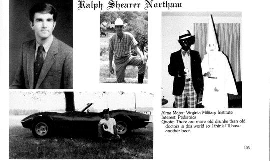 Gov. Ralph Northam's 1984 scientific college yearbook shows a photograph of a man carrying blackface and a second individual in a KKK robe