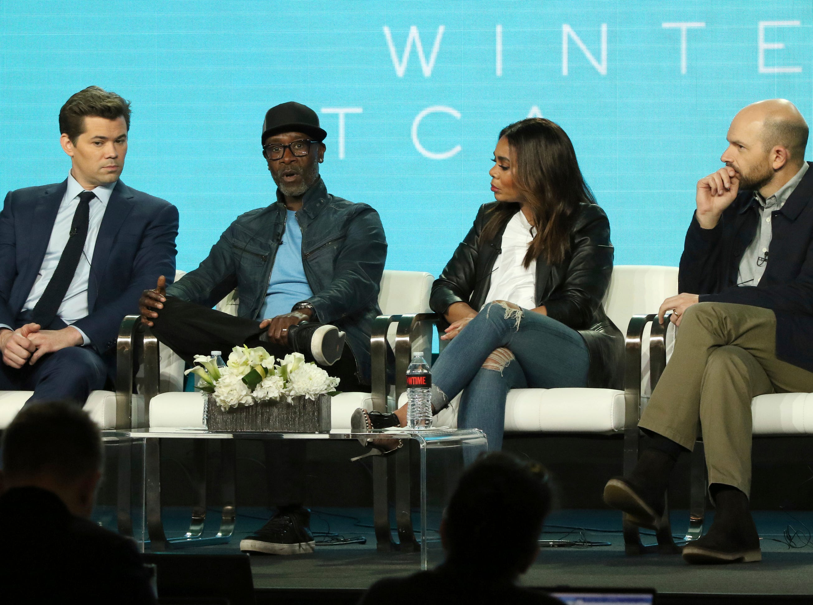 """Andrew Rannells, Don Cheadle, Regina Hall and Paul Scheer discuss their new show """"Black Monday"""" on Showtime."""