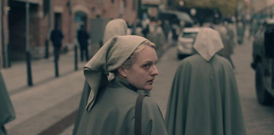 "An exclusive photo of Elisabeth Moss as June in Season 3 of ""The Handmaid's Tale."""