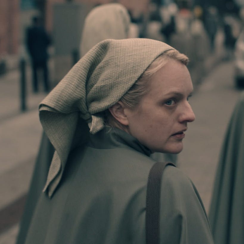 """An exclusive photo of Elisabeth Moss as June in Season 3 of """"The Handmaid's Tale."""""""