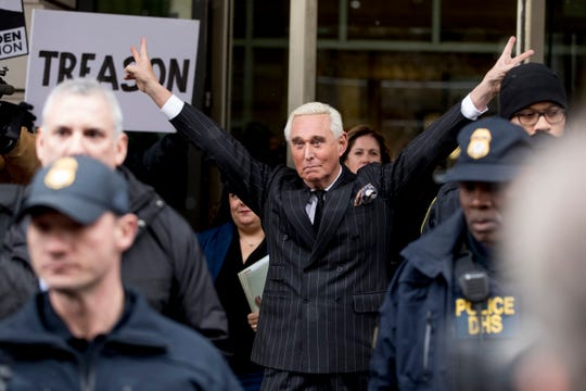 Roger Stone leaves the federal court Friday, Feb. 1, 2019, in Washington. Stone appeared for a status conference just three days after he pleaded not guilty to felony charges of witness tampering, obstruction and false statements.