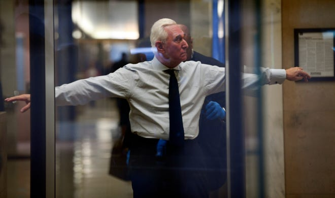Roger Stone, a former political operative for the Trump campaign, arrives for a federal court hearing on Jan. 29, 2019 in Washington.