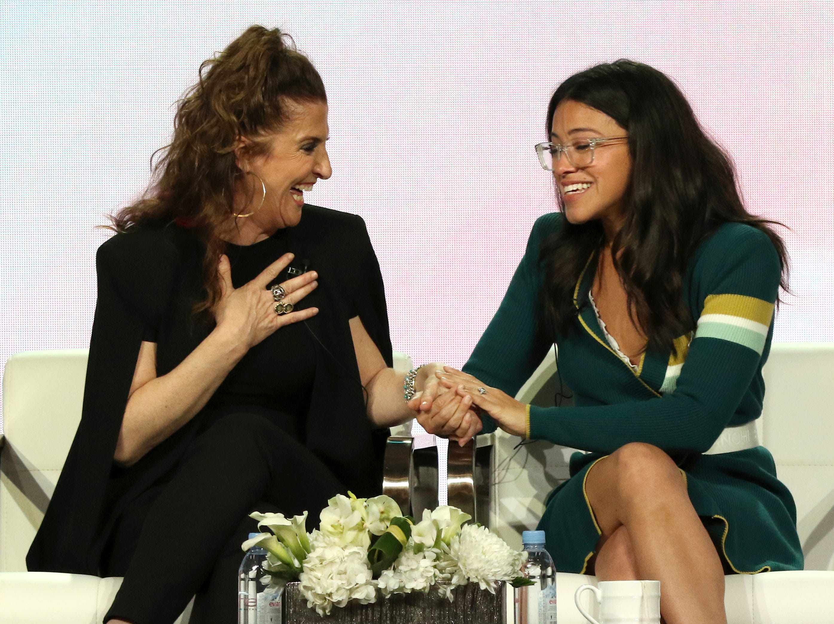 """Executive producer Jennie Snyder Urman and actress Gina Rodriguez share a moment talking about the final season on """"Jane the Virgin"""" on CW."""