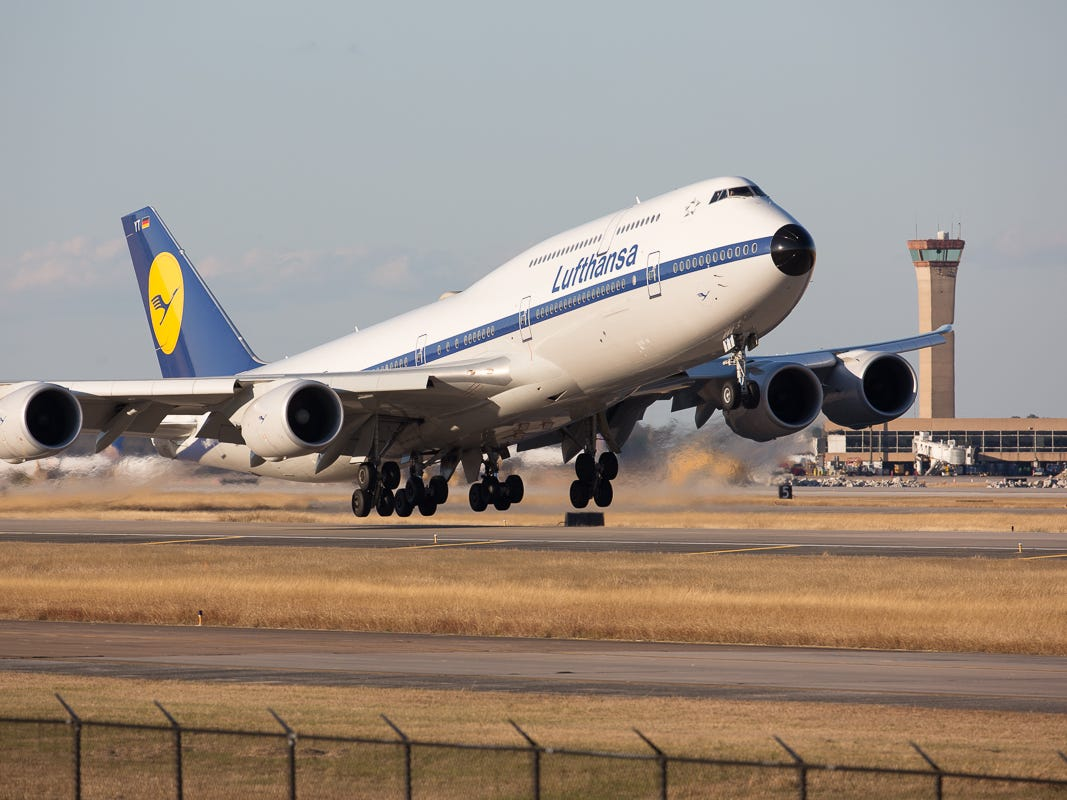 Sporting a retro livery, a Lufthansa Boeing 747-8i takes off for Frankfurt, Germany, from George Bush Intercontinental Airport in Houston on Jan. 27, 2019.