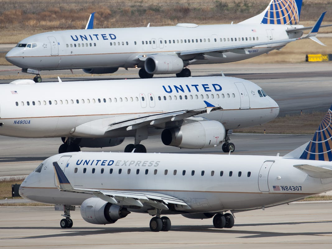 United Airlines jets taxi past one another at George Bush Intercontinental Airport in Houston on Jan. 27, 2019.