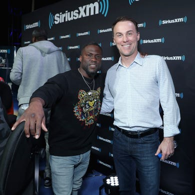 Kevin Hart and Kevin Harvick attend SiriusXM at Super Bowl LIII Radio Row on February 01, 2019 in Atlanta, Georgia.