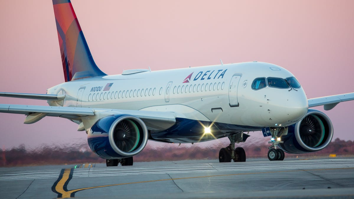 A Delta Air Lines Airbus A220 prepares to head out on a test flight at George Bush Intercontinental Airport in Houston on Jan. 27, 2019.