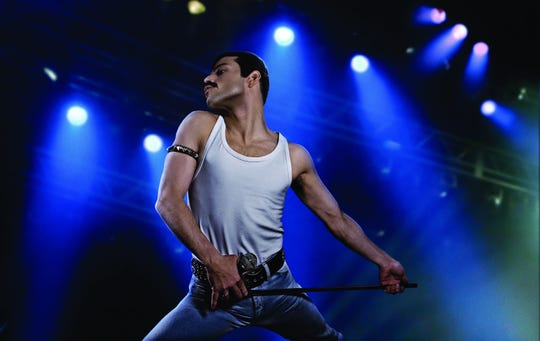 "Rami Malek as rock icon Freddie Mercury in  ""Bohemian Rhapsody."""
