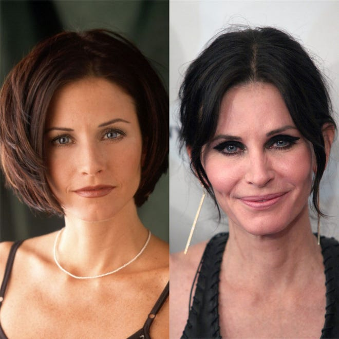 """Courteney Cox poses in a 2000 promotional photo for """"Friends,"""" left, and again at the premiere of """"Just Before I Go"""" in 2014."""