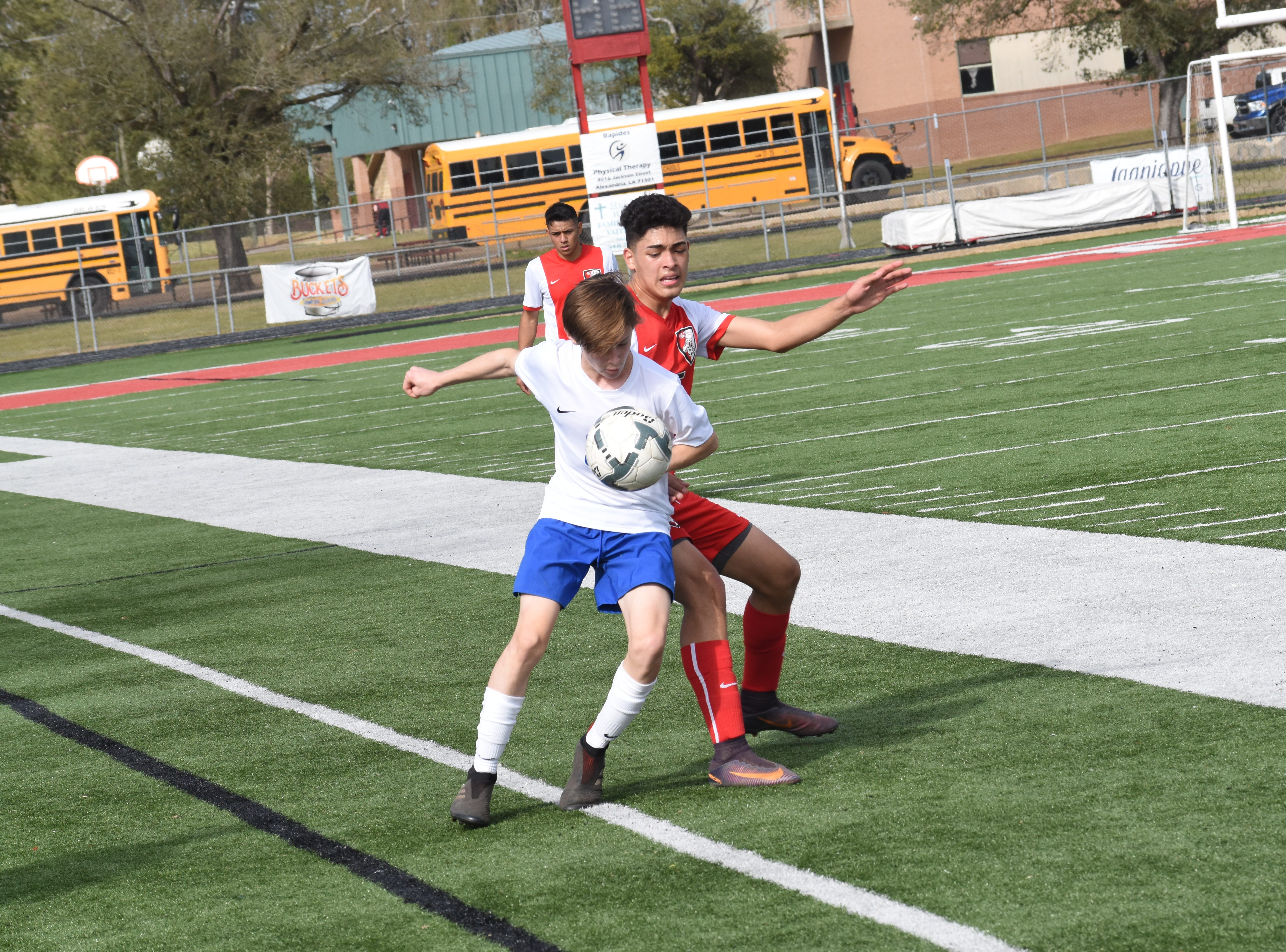 The Glenmora High School boys soccer team played Metarie Country Day School Saturday, Feb. 2, 2019 at Tioga High School in first round of the Division IV playoffs. Metarie Country Day won 3-1.
