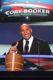 Then-Newark Mayor Cory Booker, now a U.S. senator from New Jersey, speaks at the main podium at the Time Warner Arena during the Democratic National Convention in Charlotte, N.C. on Sept. 4, 2012.