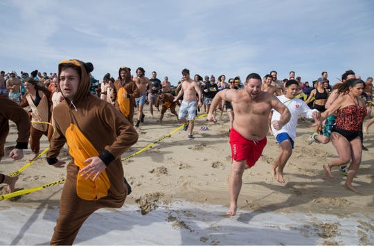 The annual Valentine Plunge to raise funds for Joan Dancy and P.A.L.S., which raises money to support local people with ALS (Lou Gehrig's disease), takes place at Manasquan Beach.       