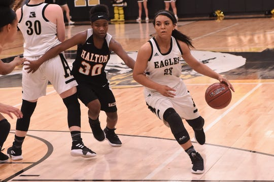 Abilene High's Alyssa Washington (23) drives against Haltom at Eagle Gym on Friday, Feb. 1, 2019. The Lady Eagles won 42-25.