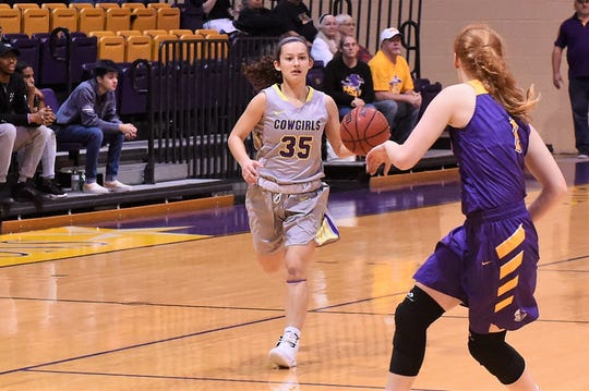 HSU guard Maria Fernandez (35) brings the ball down court against No. 6 Mary Hardin-Baylor on Saturday, Feb. 2, 2019. Fernandez scored a team-high 14 points in the 61-59 upset win.
