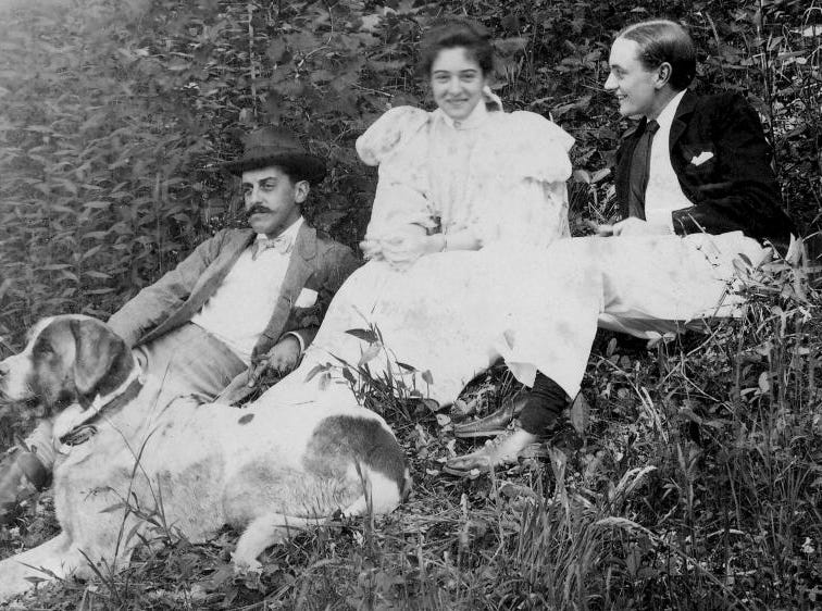 George Vanderbilt, left, with niece Adele Burden and her husband, Jay Burden, June 1895. The Burdens were visiting Biltmore for their honeymoon at the time this photograph was taken.