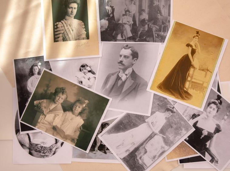"Collection of photographs from the Vanderbilt archives that John Bright and Cosprop, London, used as inspiration to design and recreate clothing for ""A Vanderbilt House Party"" exhibition in Biltmore House."