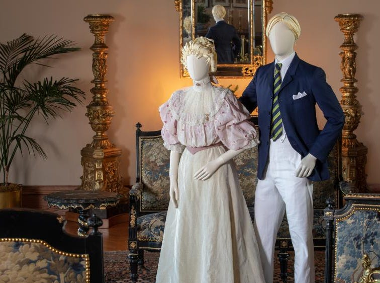 Clothing reproduction of outfits worn by Adele and Jay Burden, stationed in the Salon in Biltmore House. Adele was the niece of George Vanderbilt, and she and husband Jay honeymooned at Biltmore in June 1895. Academy Award-winning costume designer John Bright and Cosprop in London recreated the clothing pieces.