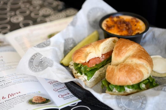 The Jalapeno Holly at Chicken Salad Chick is packed with diced jalapenos, shown here on a croissant.