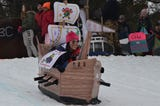 Some of the top sled runs and spills from the 11th annual Festivus cardboard sled race at Leila Arboretum.