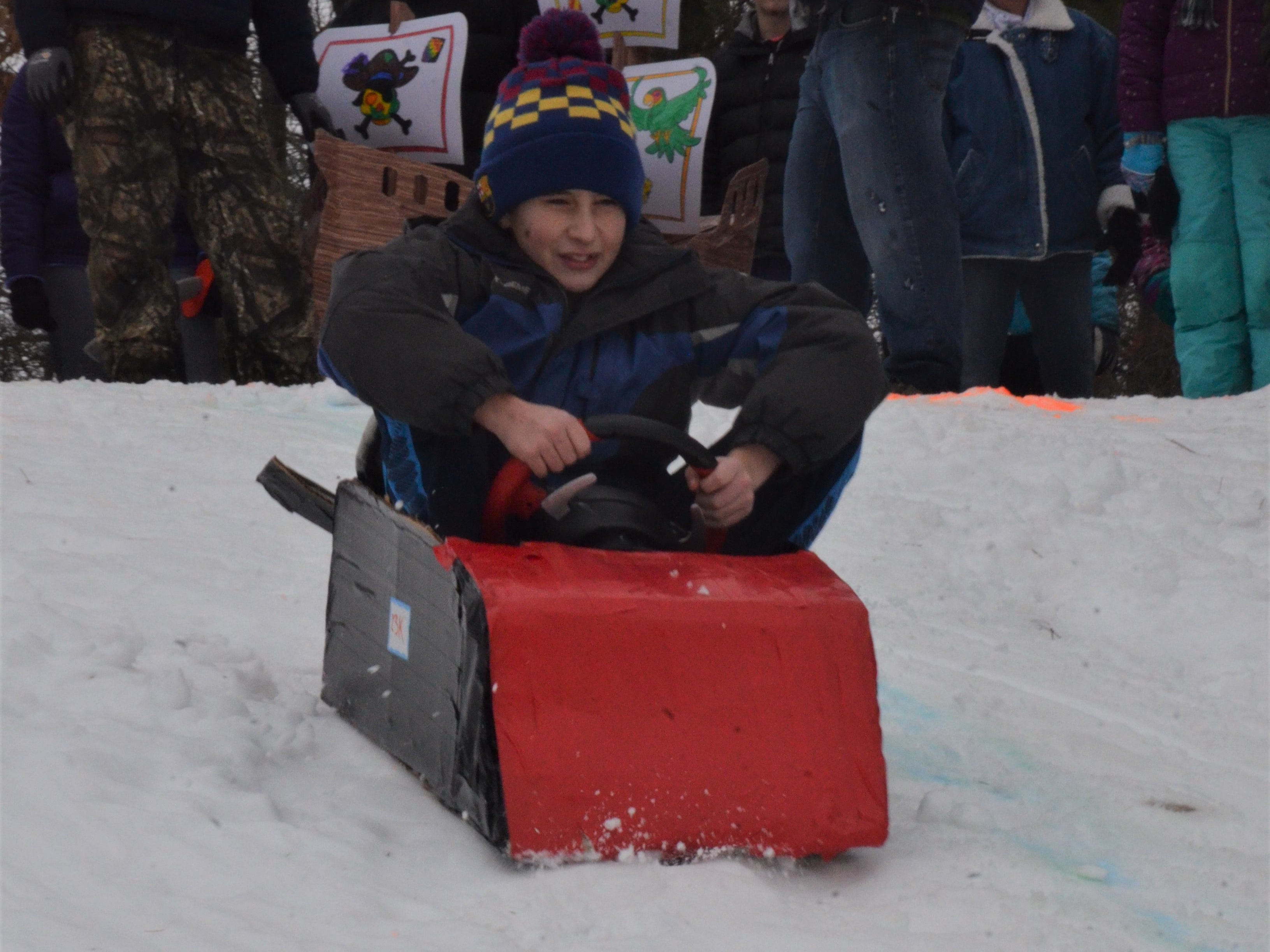 The 2019 Festivus cardboard sled race, hosted by the Battle Creek Metropolitan Area Moustache Society on Saturday, Feb. 2, 2019 at Leila Arboretum.