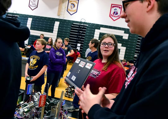 Jasmine Scott, a junior at Elmira High School, during the Elmira Express VEX Turning Point, held on Saturday, February 2, 2019, at Elmira High School.
