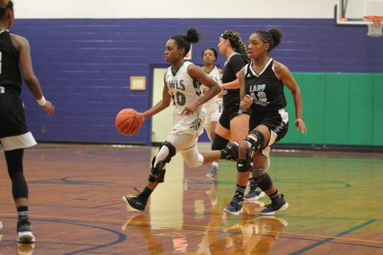 Warren Wilson College senior Danasia Dumas brings the ball up the court for the Owls against Piedmont International on Jan. 25.