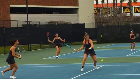 Florida Tech tennis team in action