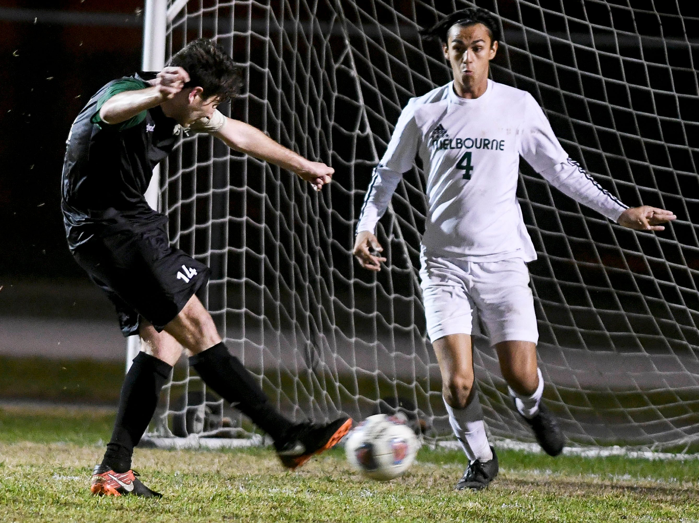 Patrick Murtha of Viera scores a goal during Friday's game against Melbourne.
