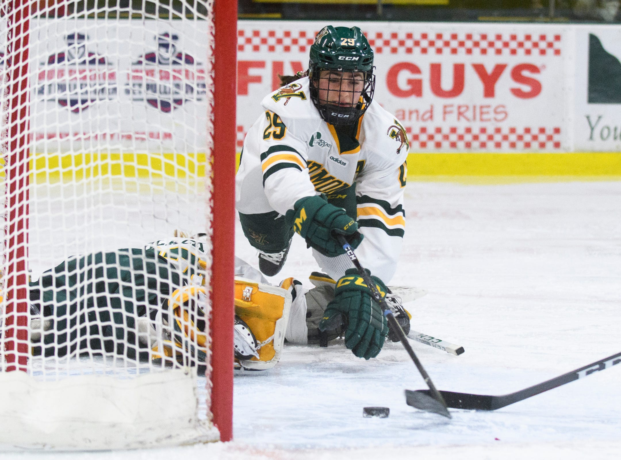 Vermont's Taylor Flaherty (29) tries to save the puck from going in the net during the women's hockey game between the Boston Terriers and the Vermont Catamounts at Gutterson Field House on Friday night February 1, 2019 in Burlington, Vermont.