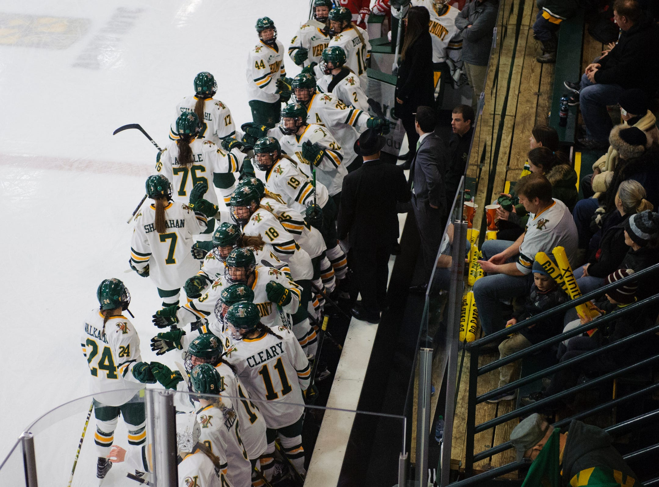 Vermont celebrates a goal during the women's hockey game between the Boston Terriers and the Vermont Catamounts at Gutterson Field House on Friday night February 1, 2019 in Burlington, Vermont.