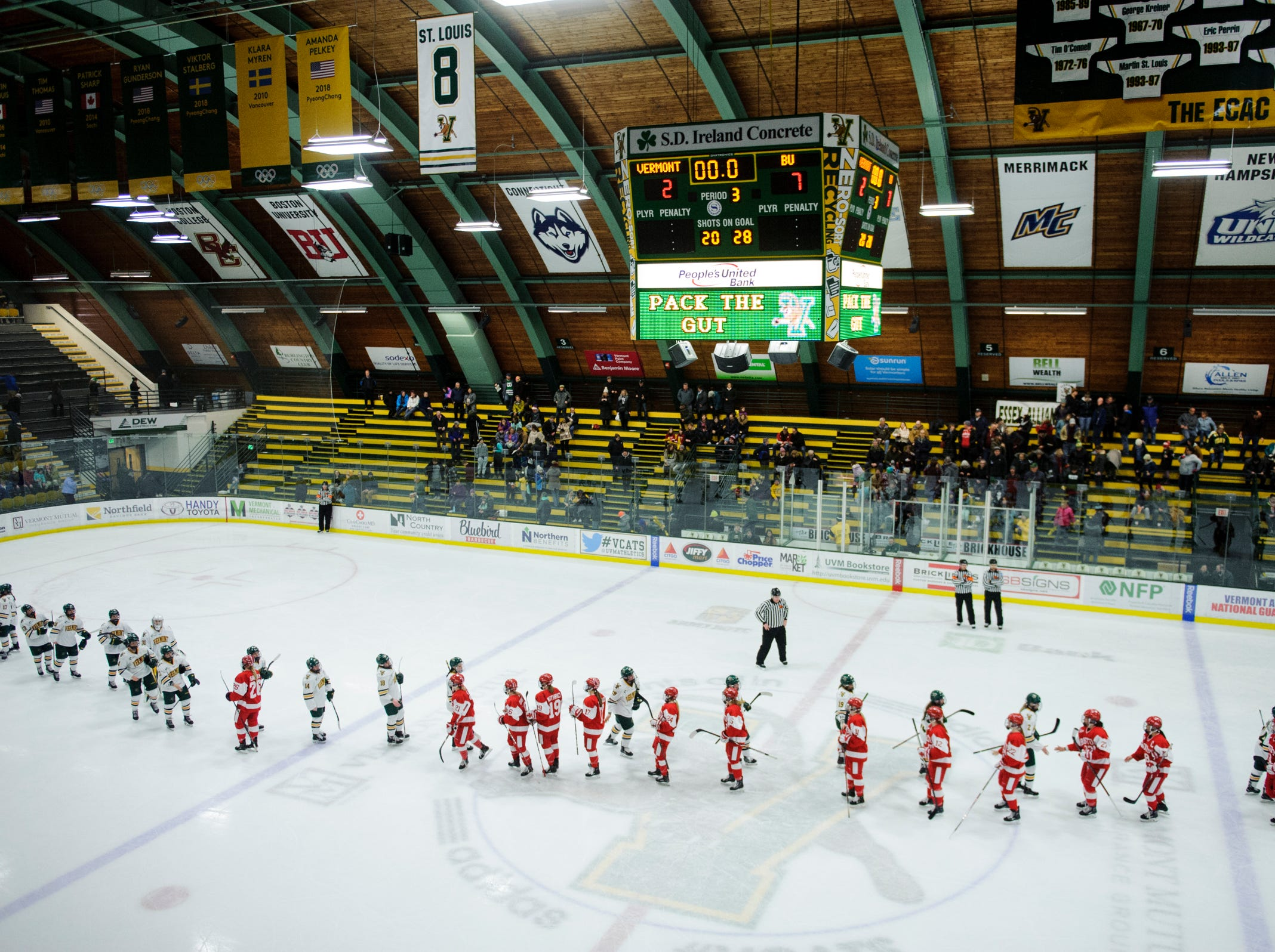 Vermont and Boston shake hands at the conclusion of the women's hockey game between the Boston Terriers and the Vermont Catamounts at Gutterson Field House on Friday night February 1, 2019 in Burlington, Vermont.