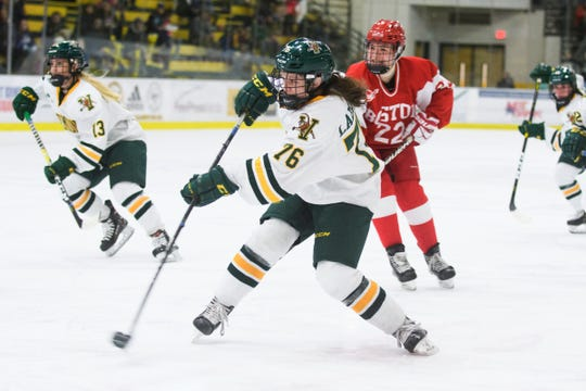 Vermont's Maude Poulin-Labelle (76) takes a shot during the women's hockey game between the Boston Terriers and the Vermont Catamounts at Gutterson Field House on Friday night February 1, 2019 in Burlington, Vermont.