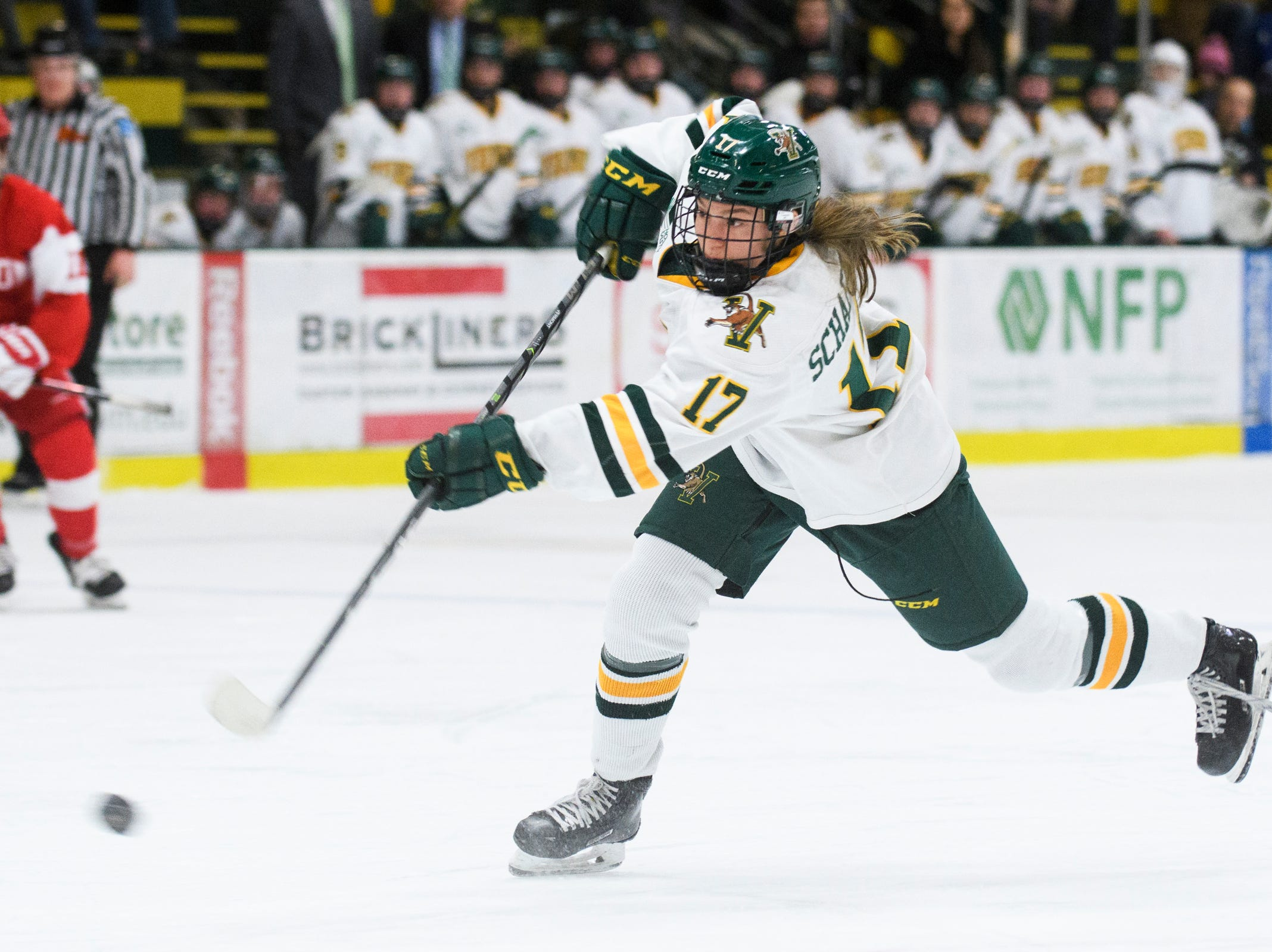 Vermont's VTheresa Schafzahl (17) shoots the puck during the women's hockey game between the Boston Terriers and the Vermont Catamounts at Gutterson Field House on Friday night February 1, 2019 in Burlington, Vermont.