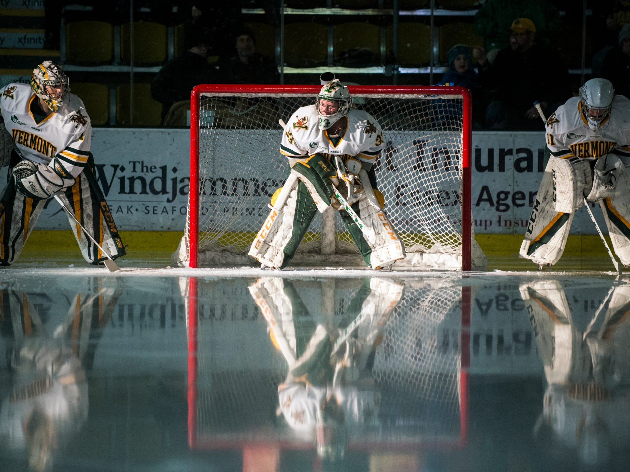 Vermont goalie Melissa Black (33) waits to be introduced during the women's hockey game between the Boston Terriers and the Vermont Catamounts at Gutterson Field House on Friday night February 1, 2019 in Burlington, Vermont.