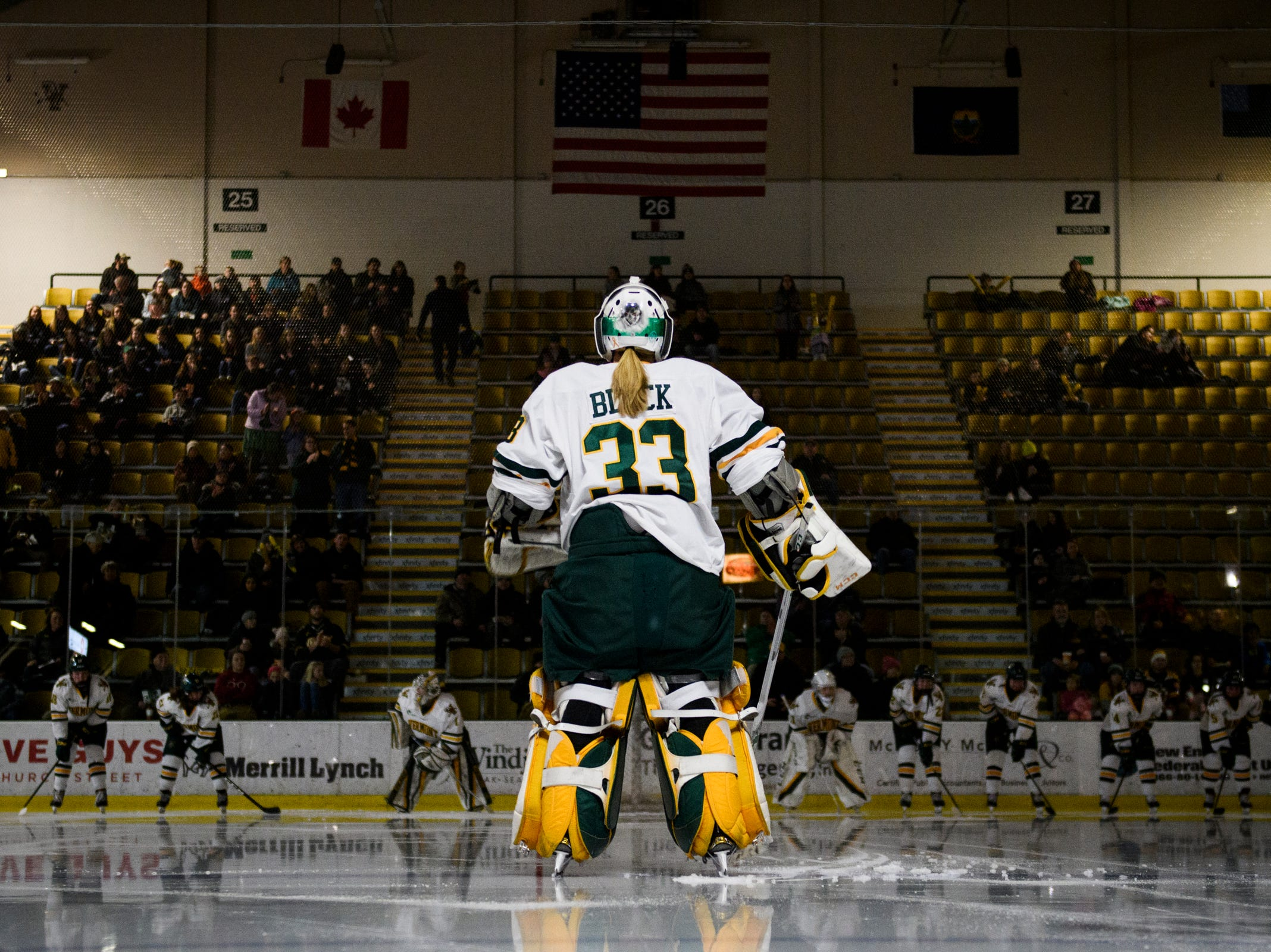 Vermont goalie Melissa Black (33) in introduced during the women's hockey game between the Boston Terriers and the Vermont Catamounts at Gutterson Field House on Friday night February 1, 2019 in Burlington, Vermont.