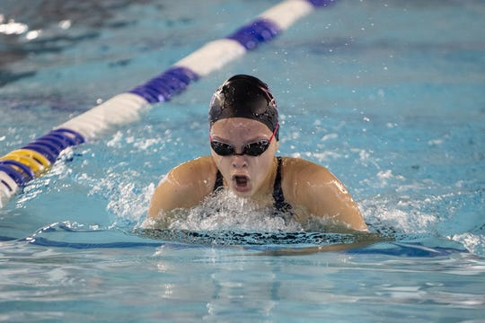 Four Bluff's Cynthia Ferguson competes in the girls 200 yard medley during the Region VIII-5A swimming meet at the CCISD Natatorium on Saturday, Feb. 2, 2019.