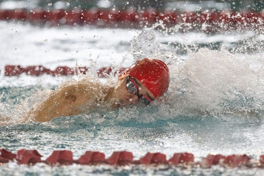 Veterans Memorial's Luis Guerrero competes in the boys 100 yard freestyle during the Region VIII-5A swimming meet at the CCISD Natatorium on Saturday, Feb. 2, 2019.