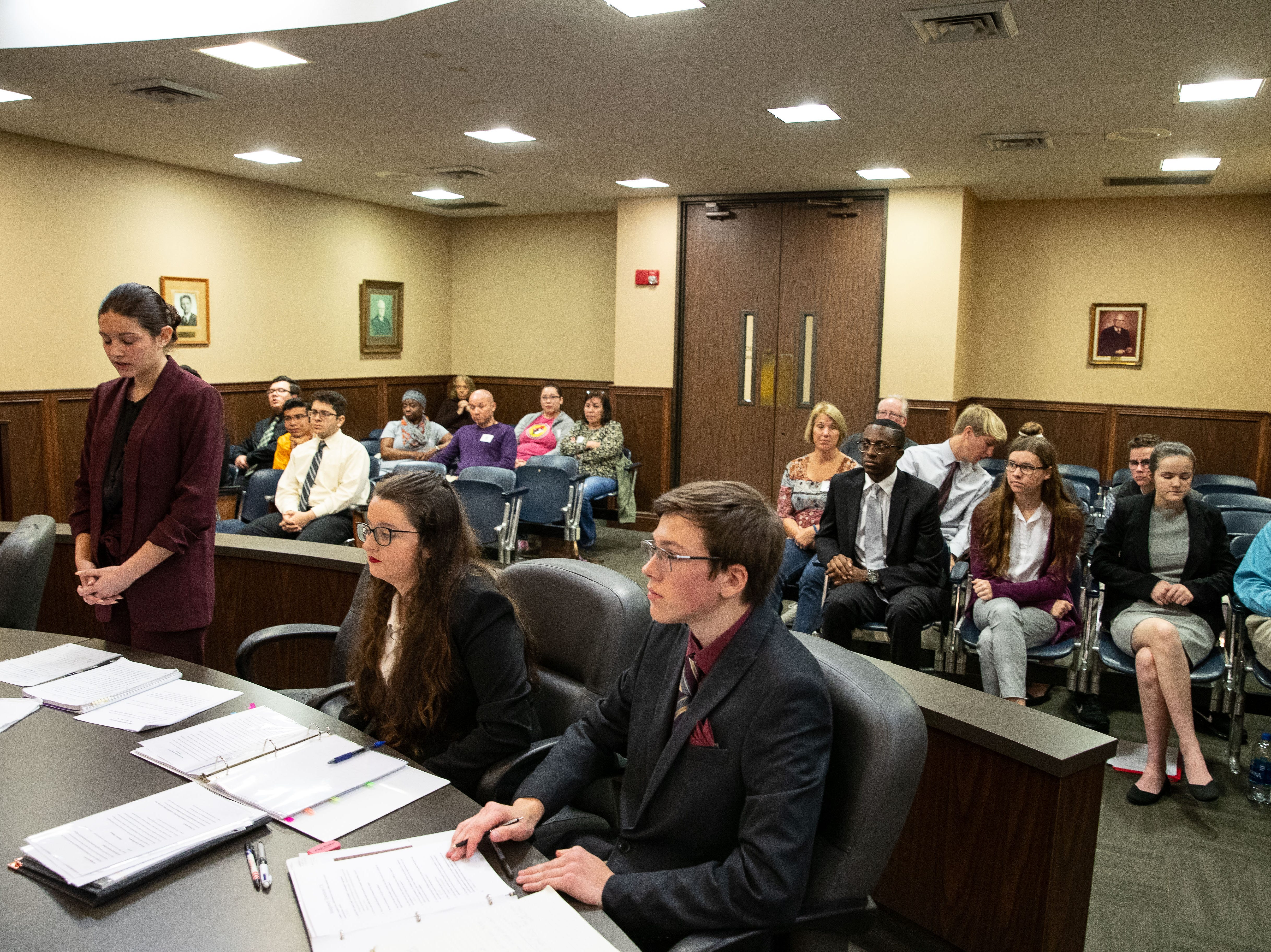 Flour Bluff competes against Branch Academy in a Mock Trial competition at the Nueces County Courthouse on Saturday, Feb. 2, 2019.