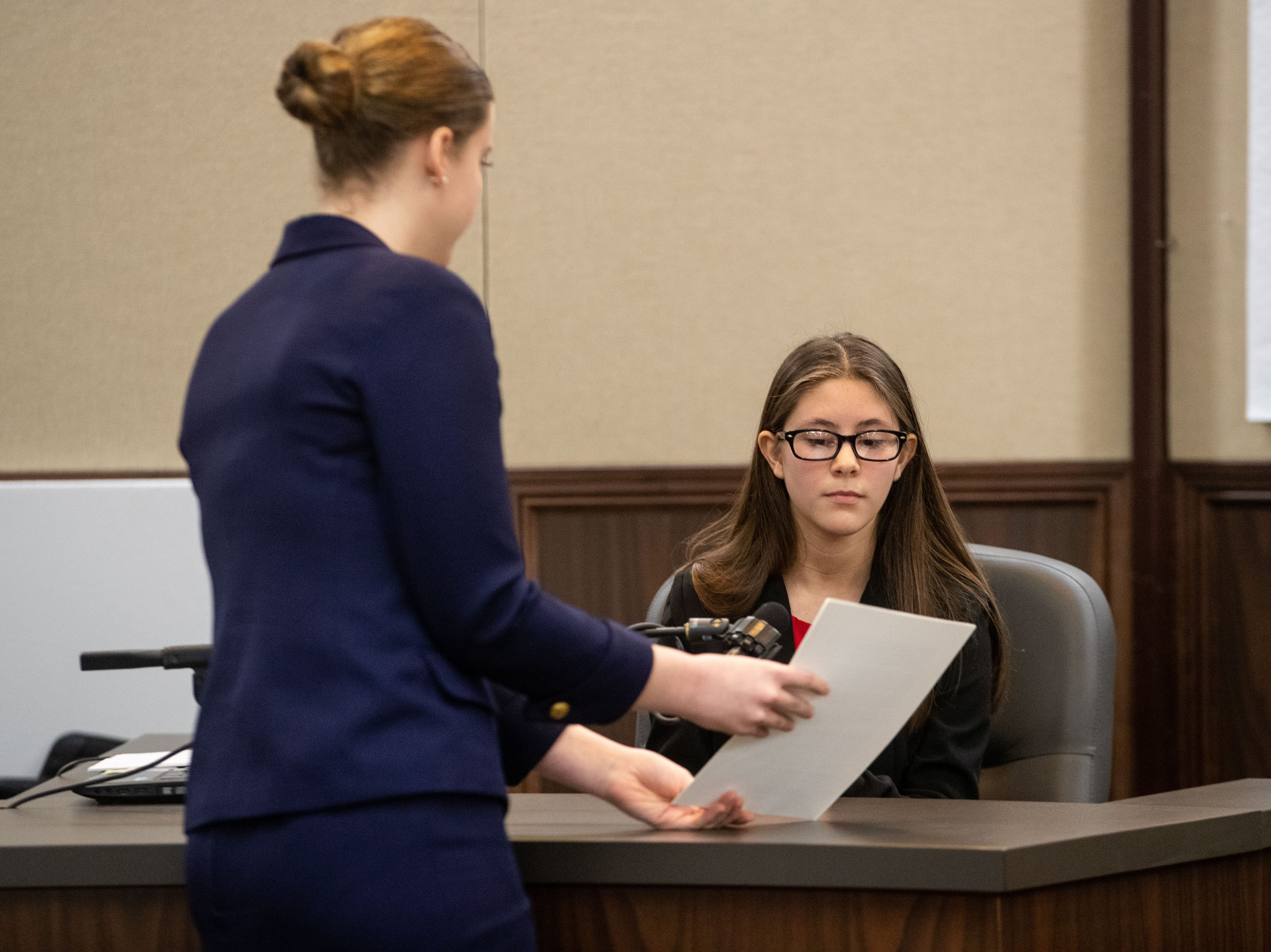 Incarnate Word Academy competes against Ray High School in a Mock Trial competition at the Nueces County Courthouse on Saturday, Feb. 2, 2019.