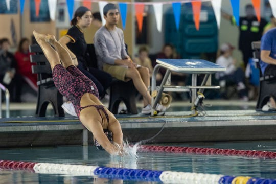 Four Bluff's Ammarie Wallett competes in the girls 50 yard freestyle during the Region VIII-5A swimming meet at the CCISD Natatorium on Saturday, Feb. 2, 2019.