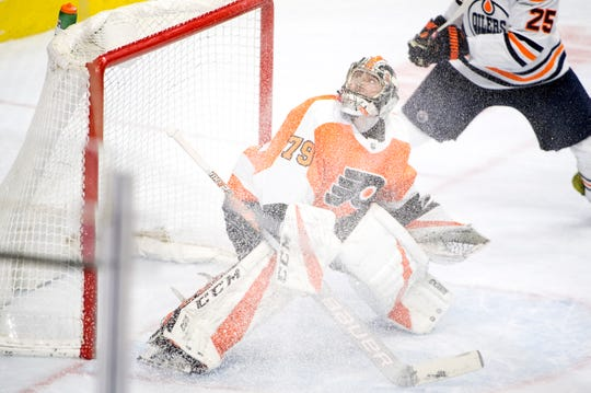 Flyers' Carter Hart (79) watches the puck soar against the Oilers Saturday, Feb. 2, 2019 at the Wells Fargo Center in Philadelphia, Pa. Flyers won 5-4 in overtime.